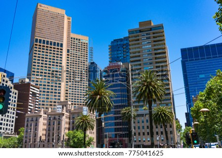 Melbourne, Australia - December 7, 2016: Melbourne CBD skyscrapers on sunny day
