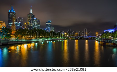 MELBOURNE, AUSTRALIA - DECEMBER 10, 2014: Melbourne skyline along the Yarra River at dusk. Melbourne is the capital of the state of Victoria, and the second most populous city in Australia