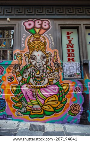 MELBOURNE, AUSTRALIA - December 29, 2013: street art by an unidentified artist.  Hosier Lane and Rutledge Lane are locations where such art is permitted and encouraged.  This is of Indian god Ganesha.