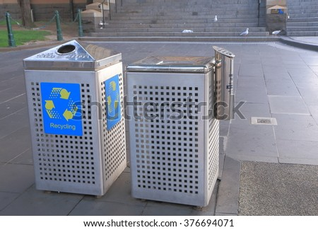 MELBOURNE AUSTRALIA - FEBRUARY 13, 2016: Garbage bins in public area in downtown Melbourne.  - stock photo