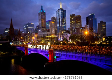 MELBOURNE, AUSTRALIA - FEBRUARY 22,2014: Melbourne's White Night attracted more than 500,000 visitors to the city centre and lit up its buildings as works of art