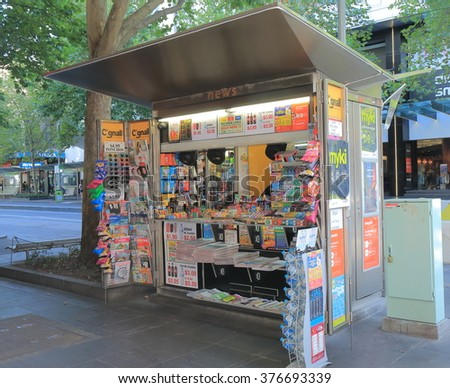 MELBOURNE AUSTRALIA - FEBRUARY 13, 2016: News agency kiosk in downtown Melbourne.  - stock photo