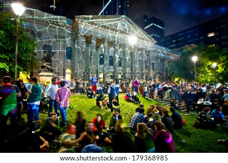 MELBOURNE, AUSTRALIA - FEBRUARY 22,2014: State Library during Melbourne's White Night which attracted more than 500,000 visitors to the city centre  - stock photo