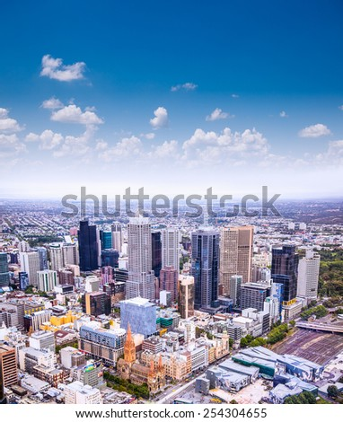 MELBOURNE,AUSTRALIA - JAN 14, 2015:Aerial view of Melbourne on Jan 14, 2015. Melbourne currently has over 4.25 million people and it's Australia's second largest city with a very diverse population. - stock photo