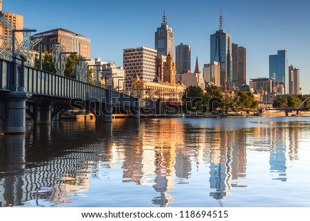 MELBOURNE,AUSTRALIA - JAN 19: Flinders St Station on January 19, 2011 in Melbourne,Australia. Each weekday, over 110,000 commuters and 1,500 trains pass through the station. - stock photo