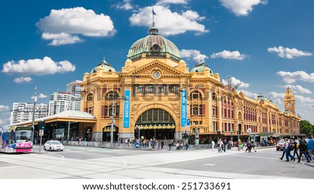 MELBOURNE, AUSTRALIA - JAN 15, 2015: Flinders street Station on Australia Day in Melbourne on Jan 15, 2015. Australia.Flinders street Station is the biggest station in Melbourne.  - stock photo