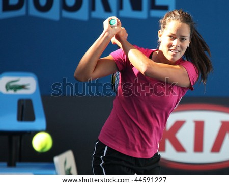 MELBOURNE, AUSTRALIA - JANUARY 16: Ana Ivanovic of Serbia at a practice session ahead of the 2010 Australian Open at Melbourne Park on January 16, 2010 in Melbourne, Australia - stock photo