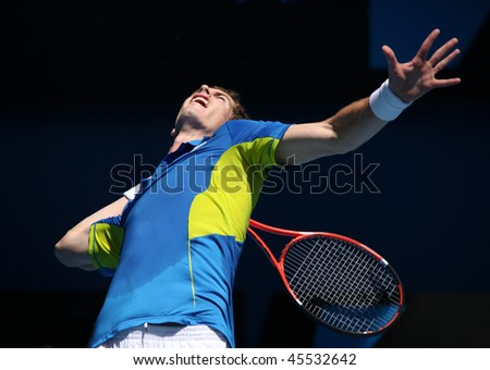MELBOURNE, AUSTRALIA - JANUARY 24: Andy Murray on his way to the final of the 2010 Australian Open on January 24, 2010 in Melbourne, Australia - stock photo