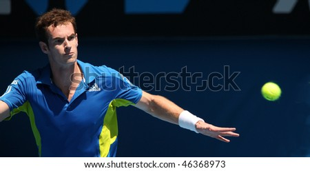MELBOURNE, AUSTRALIA - JANUARY 24: Andy Murray on his way to the final of the 2010 Australian Open. January 24, 2010 in Melbourne, Australia - stock photo