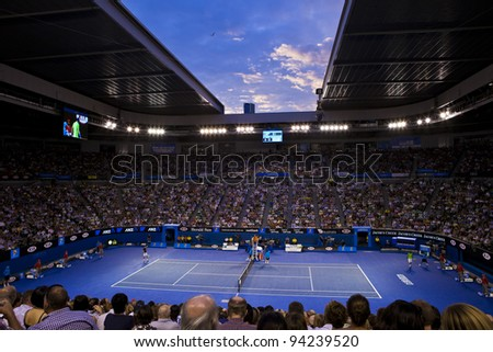 MELBOURNE, AUSTRALIA - JANUARY 29: Australian Open Men's Final at Rod Laver Atrena, Novak Djokovic of Serbia who defeated Rafael Nadal of Spain on January 29, 2012 in Melbourne, Australia - stock photo
