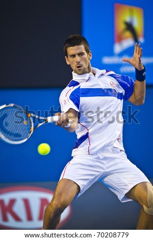 MELBOURNE, AUSTRALIA - JANUARY 30: Australian Open Men's Final, Novak Djokovic(SRB)[3] who defeated Andy Murray(GBR)[5]on January 30, 2011 in Melbourne, Australia - stock photo