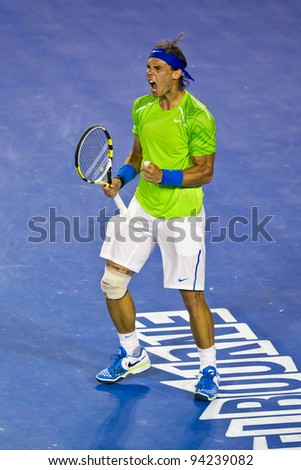MELBOURNE, AUSTRALIA - JANUARY 29: Australian Open Men's Final,  Rafael Nadal of Spain who was defeated by Novak Djokovic of Serbia on January 29, 2012 in Melbourne, Australia - stock photo