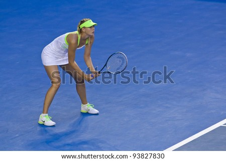MELBOURNE, AUSTRALIA - JANUARY 28: Australian Open Women's Final, Maria Sharapova of Russia who was defeated by Victoria Azarenka of Belarus on January 28, 2012 in Melbourne, Australia - stock photo