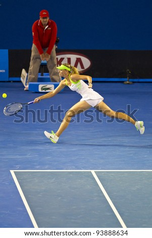MELBOURNE, AUSTRALIA - JANUARY 28: Australian Open Women's Final, Maria Sharapova of Russia who was defeated by Victoria Azarenka of Belarus on January 28, 2012 in Melbourne, Australia