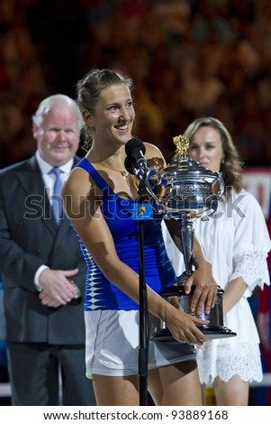 MELBOURNE, AUSTRALIA - JANUARY 28: Australian Open Women's Final, Victoria Azarenka of Belarus who defeated Maria Sharapova of Russia on January 28, 2012 in Melbourne, Australia