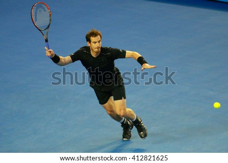 MELBOURNE, AUSTRALIA - JANUARY 31, 2016: Grand Slam champion Andy Murray of United Kingdom in action during his Australian Open 2016 final match at Rod Laver Arena in Melbourne Park - stock photo