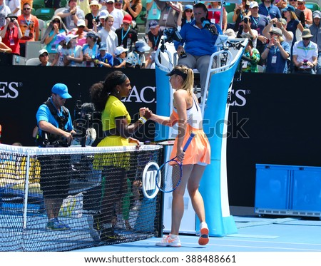 MELBOURNE, AUSTRALIA - JANUARY 26, 2016: Grand Slam champion Serena Williams of United States (L) and Maria Sharapova of Russia after quarterfinal match at Australian Open 2016 at Rod Laver Arena - stock photo