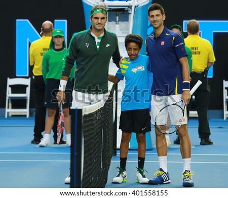 MELBOURNE, AUSTRALIA - JANUARY 28, 2016: Grand Slam champions Roger Federer of Switzerland (L) and Novak Djokovic of Serbia before semifinal match at Australian Open 2016 in Melbourne Park - stock photo
