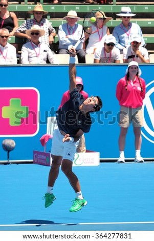 Melbourne, Australia, 2016 January 12: Hyeon Chung of South Korea at an Exhibition and practice match at Kooyong Tennis Club