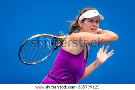 MELBOURNE, AUSTRALIA - JANUARY 15 : Julia Goerges practices at the 2016 Australian Open