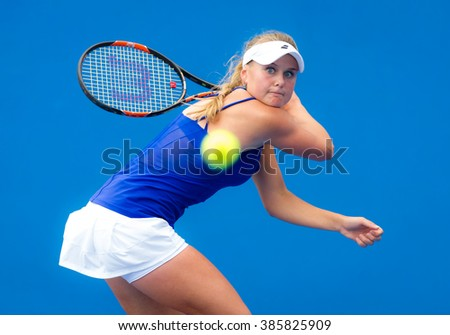 MELBOURNE, AUSTRALIA - JANUARY 14 : Kateryna Kozlova in action at the 2016 Australian Open