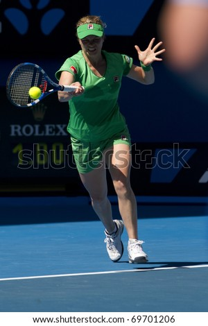 MELBOURNE, AUSTRALIA - JANUARY 22: Kim Clijsters(BEL)[3] who defeated Alize Cornet(FRA) at the Australian Open on January 22, 2011 in Melbourne, Australia