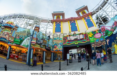 Melbourne, Australia - January 7, 2016: Luna Park in St Kilda is an iconic amusement park that opened in 1912. - stock photo