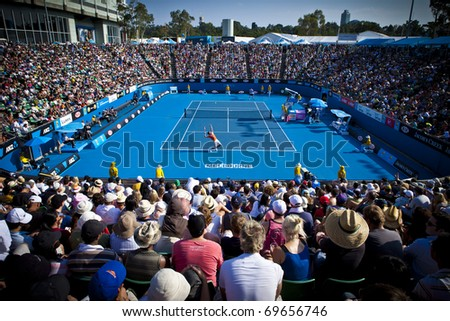 MELBOURNE, AUSTRALIA - JANUARY 22:  Margaret Court Arena next to the Rod Laver Arena which holds the center court at the Australian Open, January 22, 2011 in Melbourne, Australia - stock photo