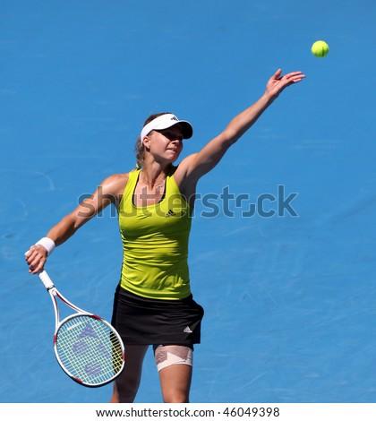 MELBOURNE, AUSTRALIA - JANUARY 26: Maria Kirilenko in action at her quarter final loss to Jie Zheng during the 2010 Australian Open on January 26, 2010 in Melbourne, Australia - stock photo