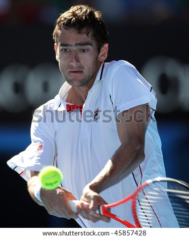 MELBOURNE, AUSTRALIA - JANUARY 26: Marin Cilic of Croatia in his quarter final win over Andy Roddick during the 2010 Australian Open on January 26, 2010 in Melbourne, Australia - stock photo