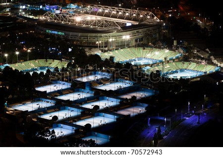 MELBOURNE, AUSTRALIA - JANUARY 18: Night view of Melbourne Park tennis courts on Jan 18, 2011 in Melbourne. Melbourne Park is home to the richest Grand Slam tennis tournament in history.
