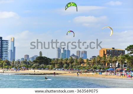 Melbourne, Australia - January 18 : People kite surfing on St Kilda Beach in Melbourne on January 18, 2015. - stock photo