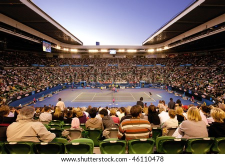 MELBOURNE, AUSTRALIA - JANUARY 27: Quarter final at Rod Laver Arena during the 2010 Australian Open on January 27, 2010 in Melbourne, Australia - stock photo