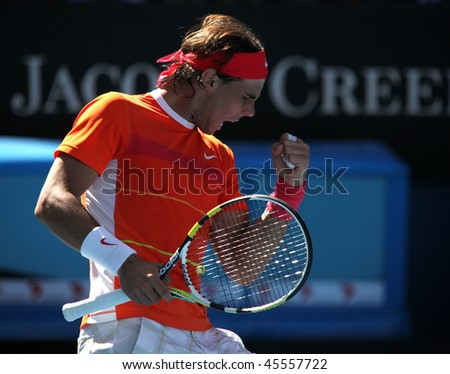 MELBOURNE, AUSTRALIA - JANUARY 26: Rafael Nadal in his quarter final loss to Andy Murray during the 2010 Australian Open on January 26, 2010 in Melbourne, Australia - stock photo