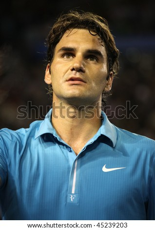MELBOURNE, AUSTRALIA - JANUARY 25: Roger Federer after his win over Lleyton Hewitt during  the 2010 Australian Open on January 25, 2010 in Melbourne, Australia