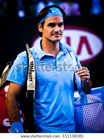 MELBOURNE, AUSTRALIA - JANUARY 25: Roger Federer during his win over Lleyton Hewitt during the 2010 Australian Open on January 25, 2010 in Melbourne, Australia - stock photo