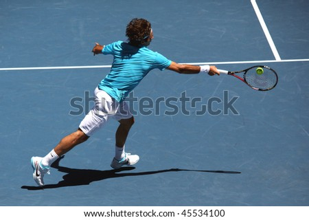 MELBOURNE, AUSTRALIA - JANUARY 23: Roger Federer on his way to the final of the 2010 Australian Open. January 23, 2010 in Melbourne, Australia - stock photo