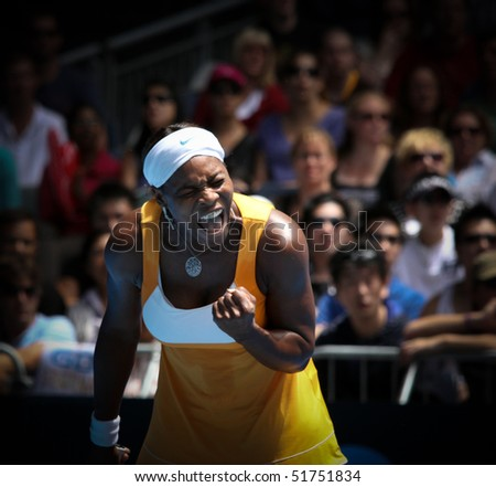 MELBOURNE, AUSTRALIA - JANUARY 23: Serena Williams during her third round match against Carla Suarez Navarroof Spain during the 2010 Australian Open on January 23, 2010 in Melbourne, Australia - stock photo
