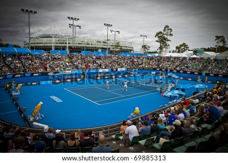 MELBOURNE, AUSTRALIA - JANUARY 22: Show Court Arena number 3 next to Rod Laver Arena which holds the center court at the Australian Open, January 22, 2011 in Melbourne, Australia - stock photo