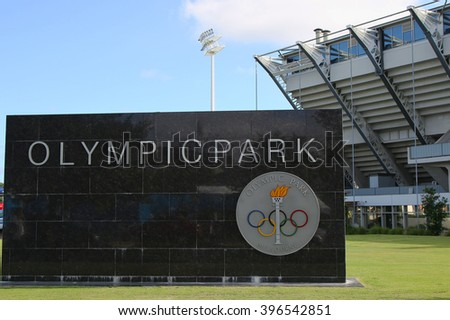 MELBOURNE, AUSTRALIA - JANUARY 23, 2016: Sign at Olympic Park in Melbourne, Australia. The 1956 Summer Olympics were an international multi-sport event which was held in Melbourne, Victoria, Australia - stock photo