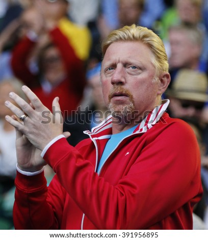 MELBOURNE, AUSTRALIA - JANUARY 24, 2016: Six times Grand Slam champion Boris Becker supports Novak Djokovic of Serbia during his round 4 match at Australian Open 2016 at Rod Laver Arena  - stock photo