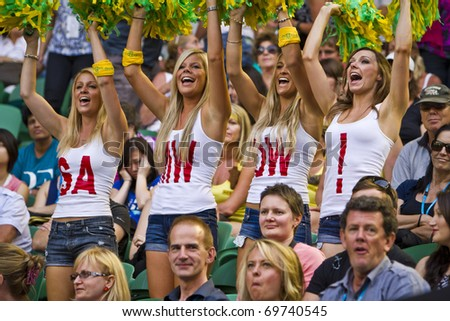 MELBOURNE, AUSTRALIA - JANUARY 22: Some of the crazy Australian supporters inside the Rod Laver Arena, center court at the Australian Open, January 22, 2011 in Melbourne, Australia