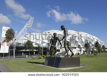 MELBOURNE, AUSTRALIA - JANUARY 24, 2016: Sportsmanship statue in the front of the Melbourne Rectangular Stadium, also known as AAMI Park in Melbourne Australia.  - stock photo