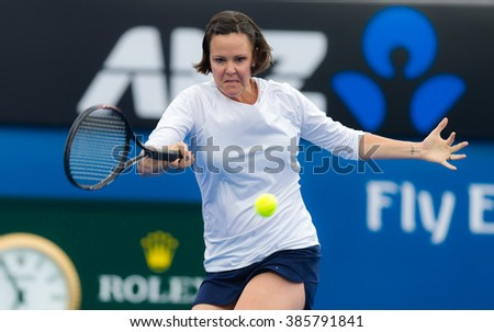 MELBOURNE, AUSTRALIA - JANUARY 25 : Tennis legend Lindsay Davenport in action at the 2016 Australian Open - stock photo