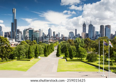 Melbourne, Australia - January 30 - The view from the Shrine of Remembrance towards Melbourne CBD on a hot summer's day on January 30th 2015. - stock photo