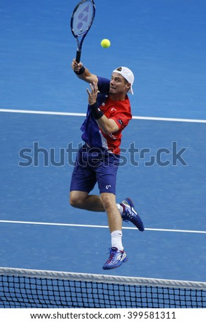 MELBOURNE, AUSTRALIA - JANUARY 23, 2016: Two times Grand Slam Champion Lleyton Hewitt of Australia in action during his doubles match at Australian Open 2016 in Melbourne Park