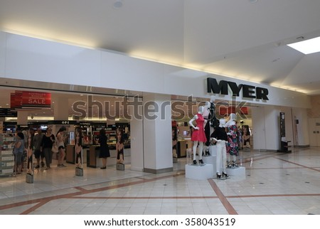 MELBOURNE AUSTRALIA - JANUARY 1, 2016: Unidentified people shop at MYER department store. Myer is an Australian's largest department store chain targeting mid-to-up market.  - stock photo