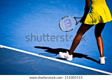 MELBOURNE, AUSTRALIA - JANUARY 23: Venus Williams during her third round match against Casey Dellacqua during the 2010 Australian Open on January 23, 2010 in Melbourne, Australia - stock photo