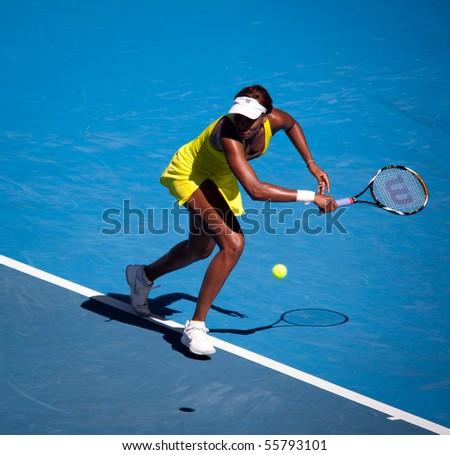 MELBOURNE, AUSTRALIA - JANUARY 23: Venus Williams during her third round match against Casey Dellacqua during the 2010 Australian Open on January 23, 2010 in Melbourne, Australia - stock photo