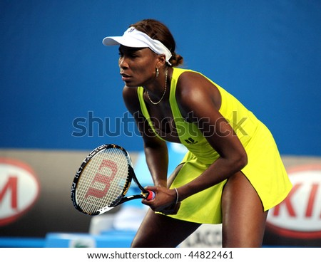 MELBOURNE, AUSTRALIA - JANUARY 19: Venus Williams in her first round win over Lucie Safarova of the Czech Republic in the 2010 Australian Open  on January 19, 2010 in Melbourne, Australia - stock photo